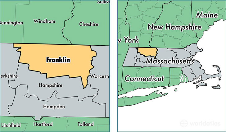 franklin county massachusetts map of franklin county ma