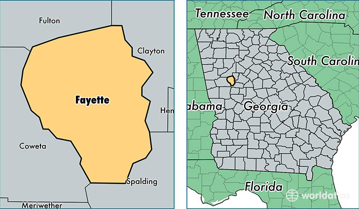 location of Fayette county on a map