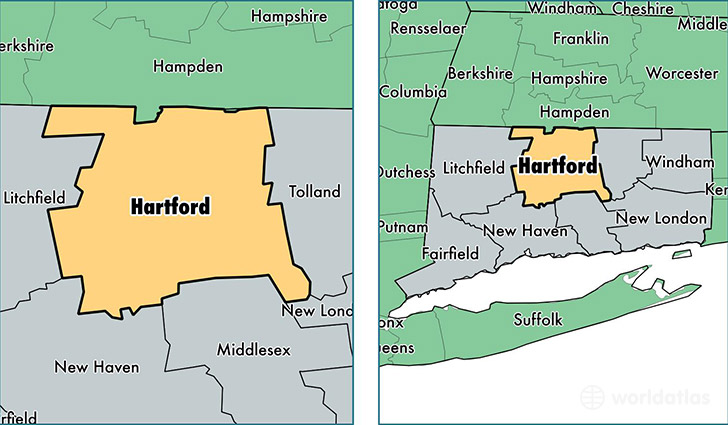 Hartford County Connecticut Map of Hartford County CT Where is