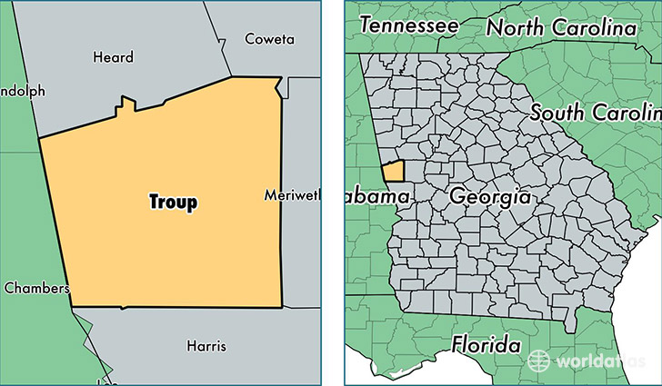 location of Troup county on a map