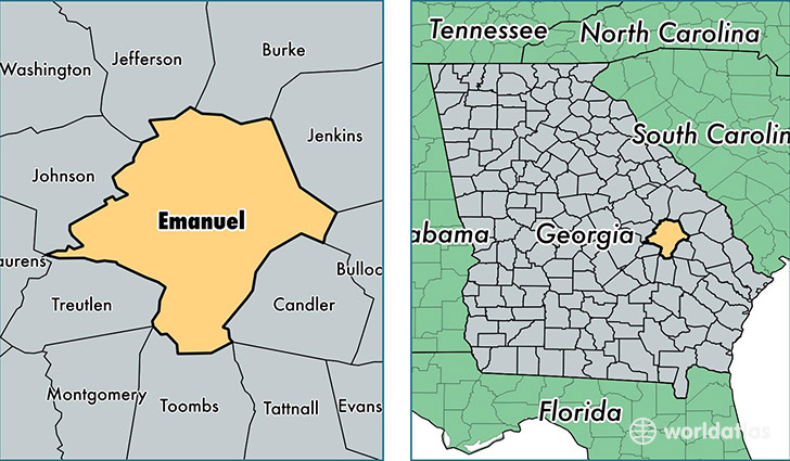 location of Emanuel county on a map
