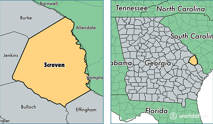 location of Screven county on a map