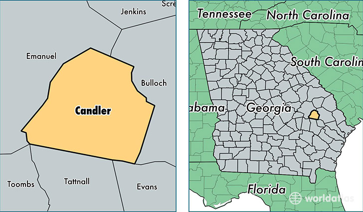 location of Candler county on a map