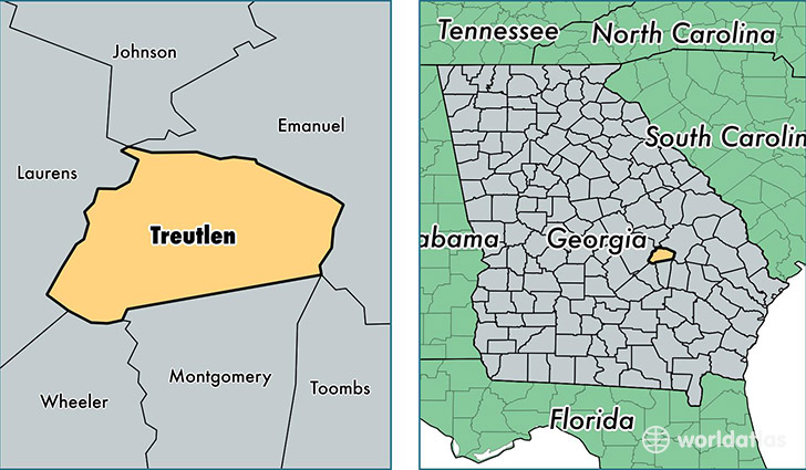 location of Treutlen county on a map