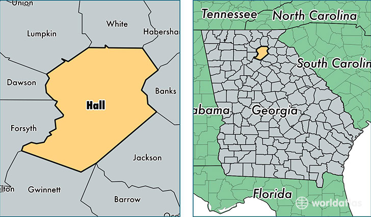 location of Hall county on a map