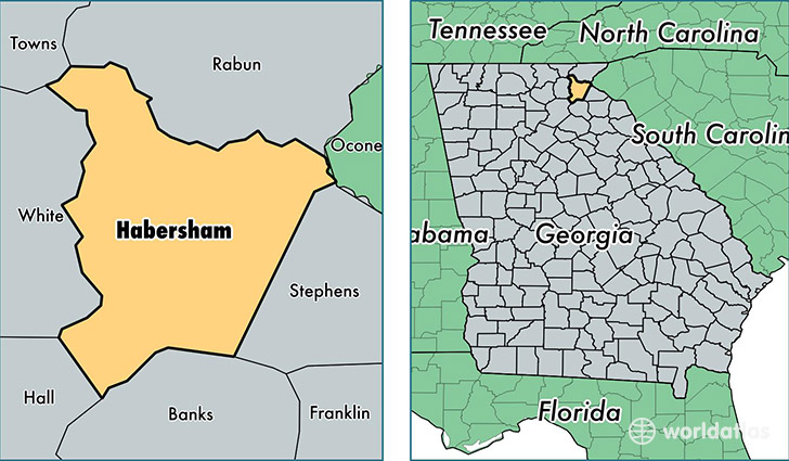 location of Habersham county on a map