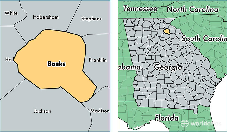 location of Banks county on a map