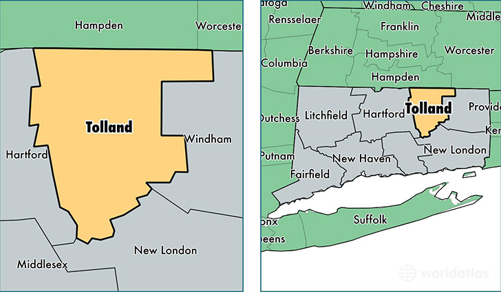 location of Tolland county on a map