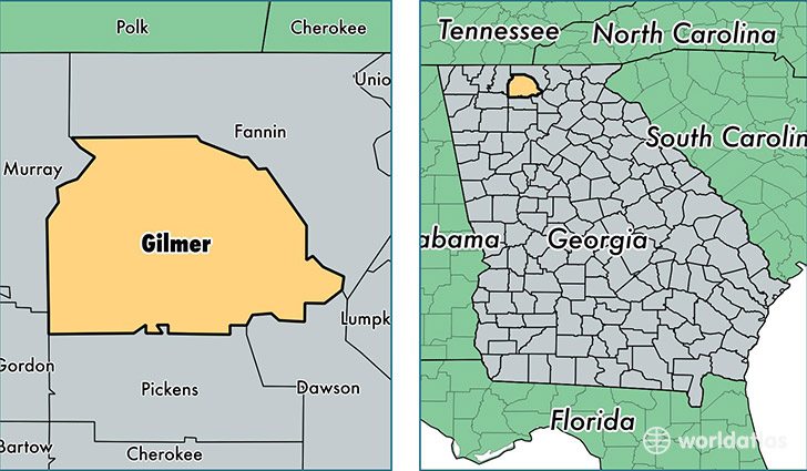 location of Gilmer county on a map