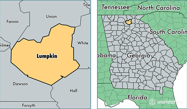 location of Lumpkin county on a map