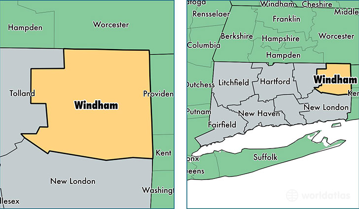 Windham County Connecticut Map Of Windham County Ct