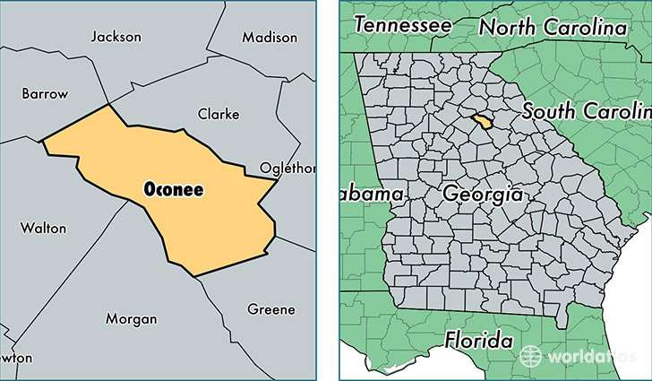 location of Oconee county on a map
