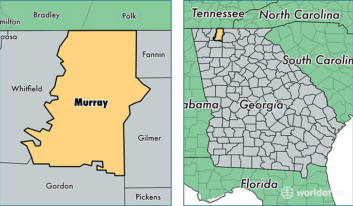 location of Murray county on a map