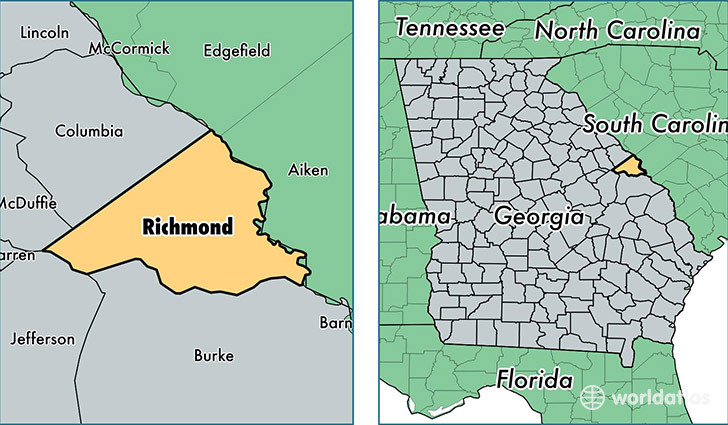 location of Richmond county on a map