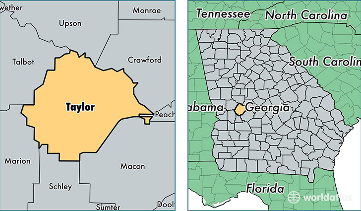Taylor County Georgia Map of Taylor County GA Where is Taylor