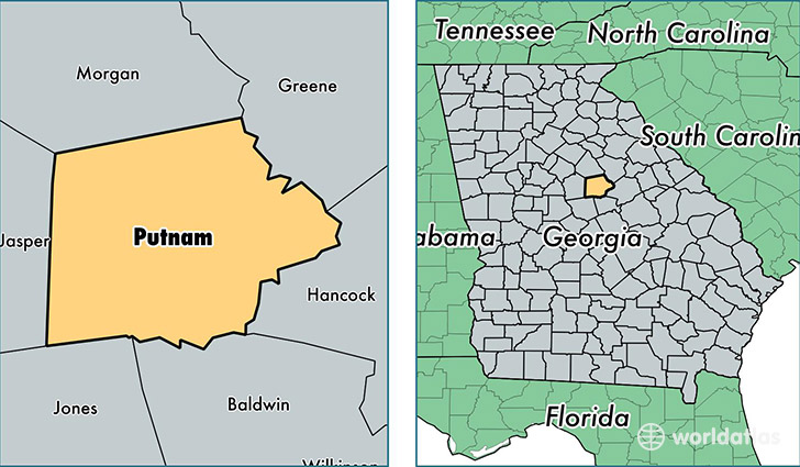 Putnam County Georgia Map of Putnam County GA Where is Putnam