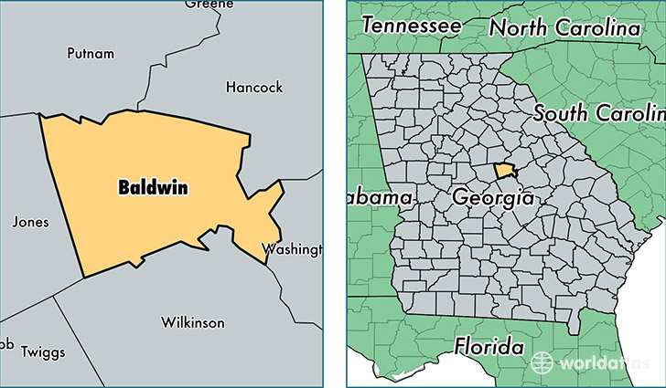 location of Baldwin county on a map