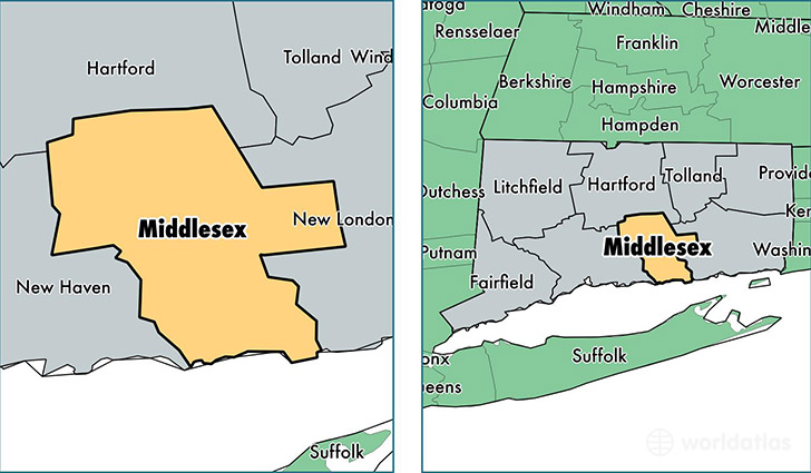 location of Middlesex county on a map