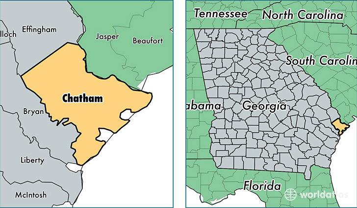 location of Chatham county on a map