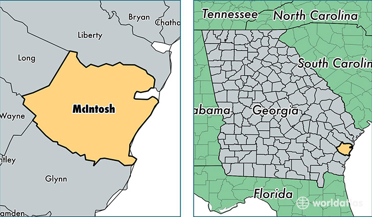location of McIntosh county on a map