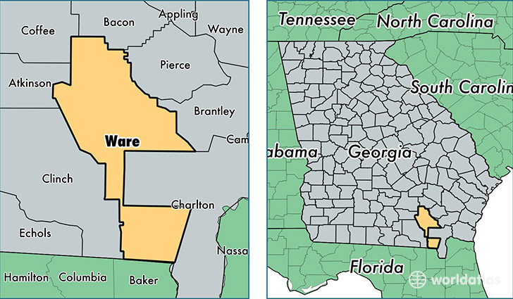 location of Ware county on a map