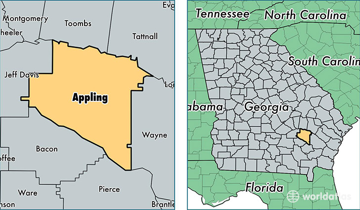 location of Appling county on a map
