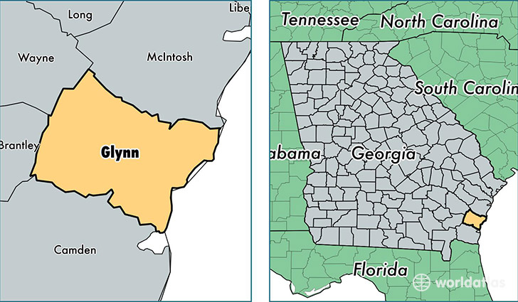 location of Glynn county on a map