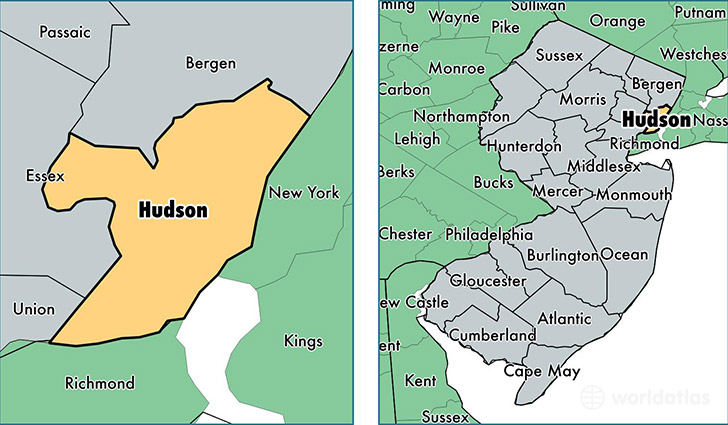 hudson county Hudson is a city located along the west border of columbia county, new york, united statesas of the 2010 census it had a population of 6,713, the second-largest in the county, following the nearby town of kinderhook.