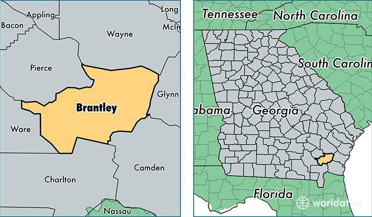 location of Brantley county on a map