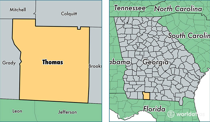 location of Thomas county on a map
