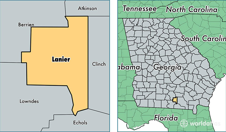 location of Lanier county on a map