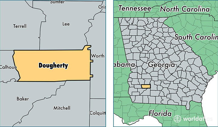 location of Dougherty county on a map