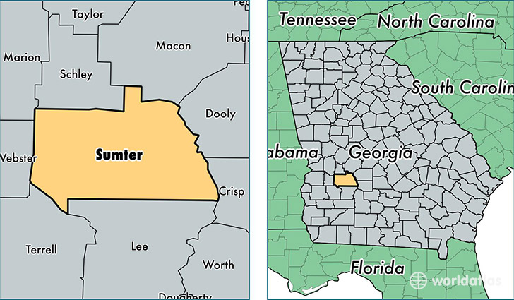 location of Sumter county on a map