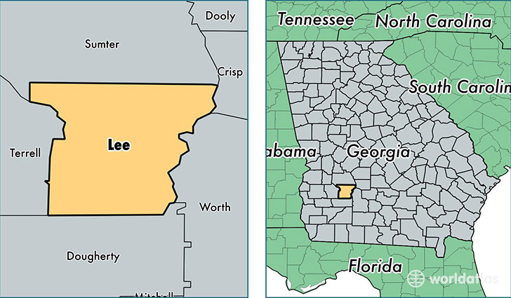 location of Lee county on a map