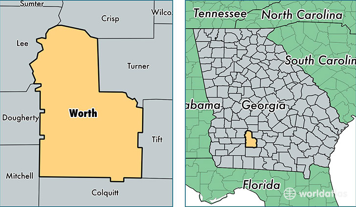 location of Worth county on a map