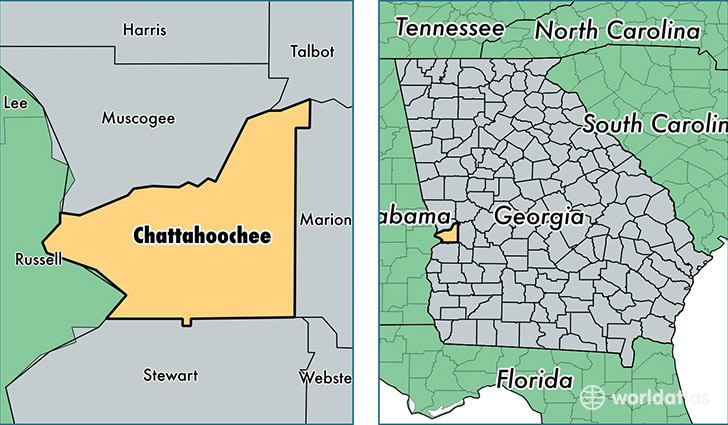 location of Chattahoochee county on a map
