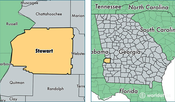 location of Stewart county on a map
