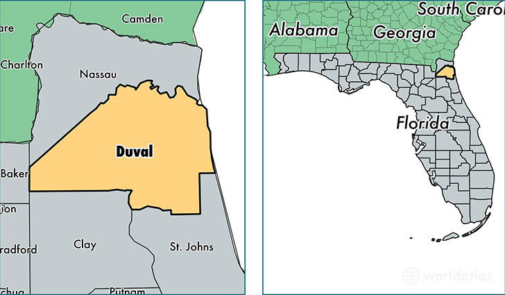 Duval County Florida Map Of Duval County FL Where Is