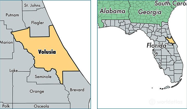 location of Volusia county on a map