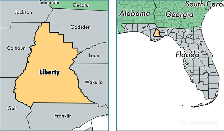 location of Liberty county on a map