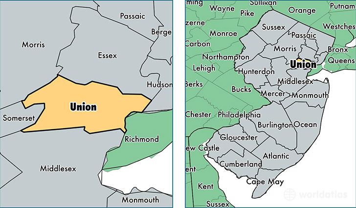 location of Union county on a map