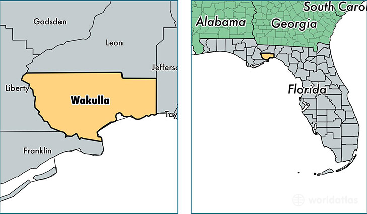 location of Wakulla county on a map