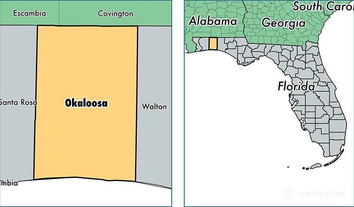 Okaloosa County Florida Map Of Okaloosa County Fl