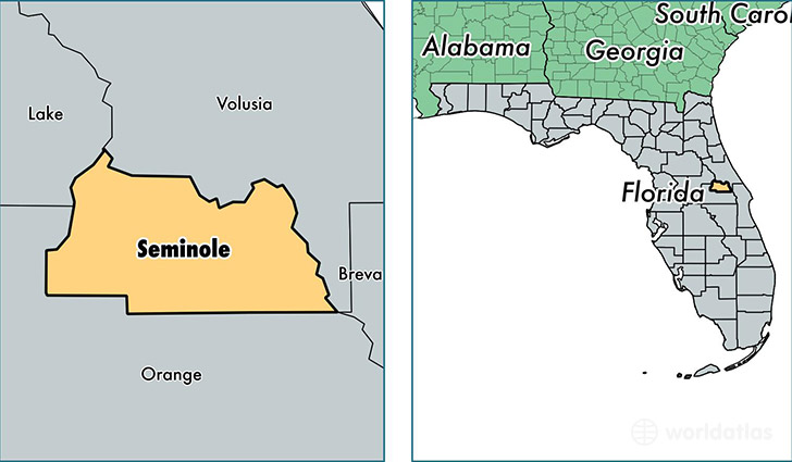 location of Seminole county on a map