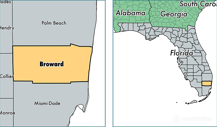 location of Broward county on a map