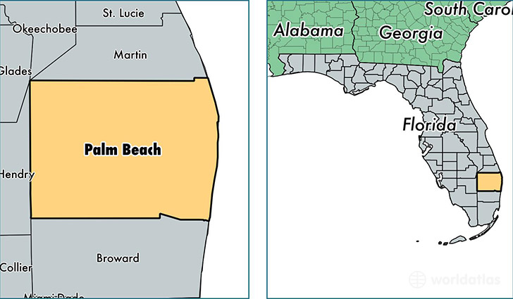 location of Palm Beach county on a map