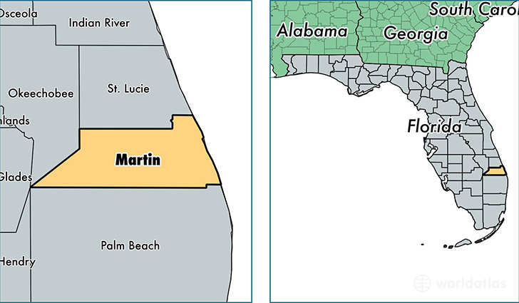 location of Martin county on a map