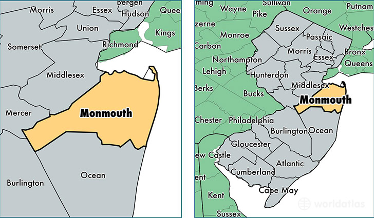 location of Monmouth county on a map