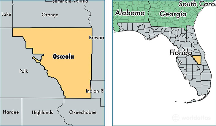 location of Osceola county on a map