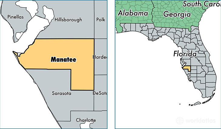 Manatee County Florida Map Of Manatee County FL Where Is - Florida towns map